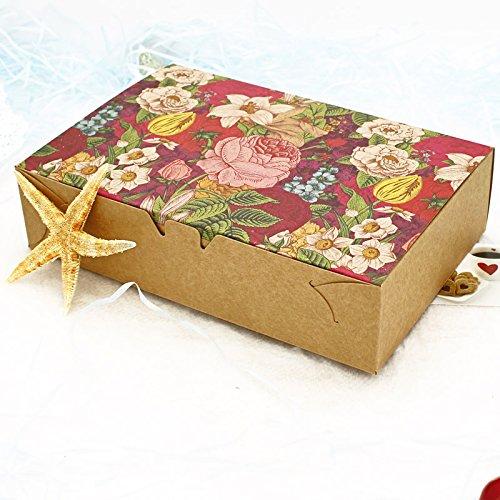 Saasiiyo 20PCS Vintage Floral Printed Baking Food Carton Kraft Boxes, Cookies Gift Boxes, Mooncake Macaron Boxes Packaging 20.3x13.6x5cm