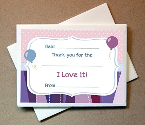 Birthday Thank You Cards (20 Flat Cards and Envelopes) Flat Card Invites