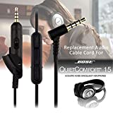 3in1 Kit for Bose QuietComfort 15 Headphones, Soft Replacement Memory Foam Ear Pad Cushion + Headband + 3.5mm Audio Cable Cord for Bose QC15 Headphones