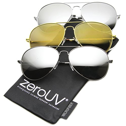 zeroUV Premium Mirrored Aviator Top Gun Sunglasses w/ Spring Loaded Temples, (3-Pack | Silver + Gold + Gunmetal)