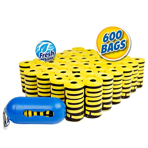 OUT! Dog Poop Bags | Strong, Leak Proof Dog Waste Bags | 9 x 12 Inches, 600 Yellow Bags ()