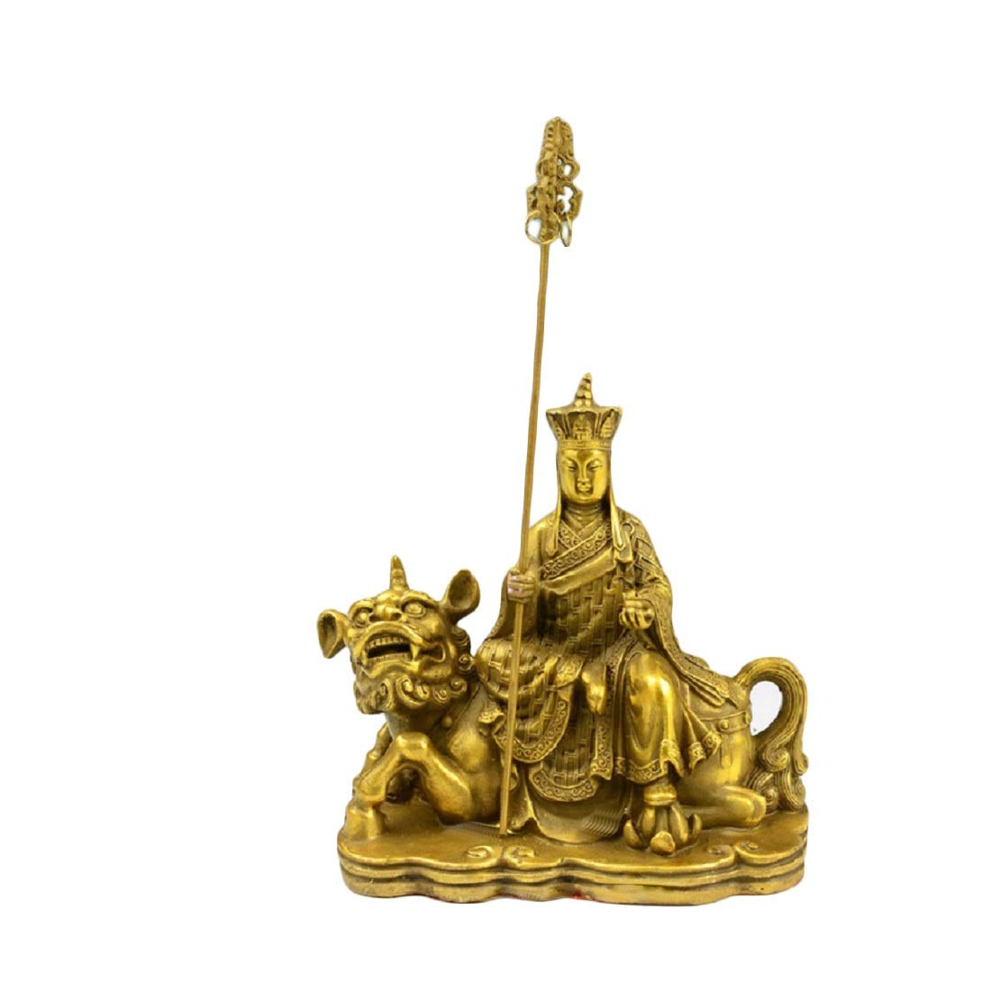 Fengshui Products Buddha Statues Decor for Home, Handmade Brass Ksitigarbha on The Unicorn, Buddhist Statues and Sculptures Desk Decorations, Happiness and Lucky Buddha Figurines (16cm Tall)