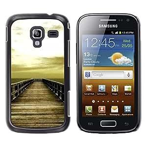 LECELL--Funda protectora / Cubierta / Piel For Samsung Galaxy Ace 2 I8160 Ace II X S7560M -- Golden Brown Dock Sea Sun Summer --