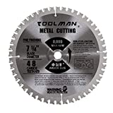 Toolman Circular Saw Blade Universal Fit 7-1/4'' 5/8'' 48T Carbide Tip For Metal cutting works with DeWalt Makita Ryobi