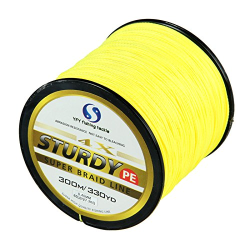FYSHFLYER Sturdy 4X-PE Braided Yellow Fishing Line - 300M(330 Yard) Premium Quality; Super Power; Cut Resistant; 8LB to 60LB