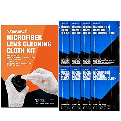 VSGO DDC-3 Lint Free Microfiber Cleaning Cloth for Lens, Eye Glasses, LED (8 Packs - 5