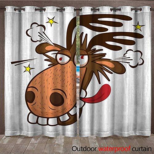 BlountDecor Door/Gazebo Curtain Moose On The Loose Moose Face Picture Cartoon Smile Deer Vector Waterproof CurtainW108 x L108