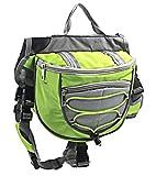OSPet Saddle Bag Backpack for Large Dog, Detachable Pack Instantly Turns into Harness, Adjustable Tripper Hound Saddlebag Travel Hiking Camping Green