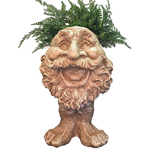 Homestyles 18 in. Stone Wash Ole Salty the Muggly Statue Face Planter Holds 7 in. Pot by Home Styles