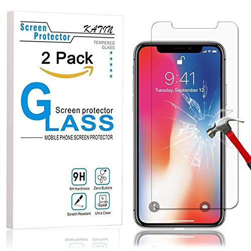 Price comparison product image iPhone X Screen Protector - KATIN [2-Pack] Apple iPhone X / iPhone 10 (2017) Premium Tempered Glass 9H Hardness , Bubble Free , 3D Touch Compatible , Lifetime Replacement Warranty