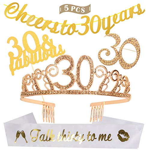 30th Birthday Decorations Party Supplies | Gold 30th Birthday Tiara | 30th White Satin Sash Talk thirty to me | Gold Glittery Cheers to 30 Years Banner | 30 and Fabulous Cake Topper | 30 Golden Rhinestone Brooch | for 30th Birthday Party Supplies and Decorations for $<!--$18.99-->
