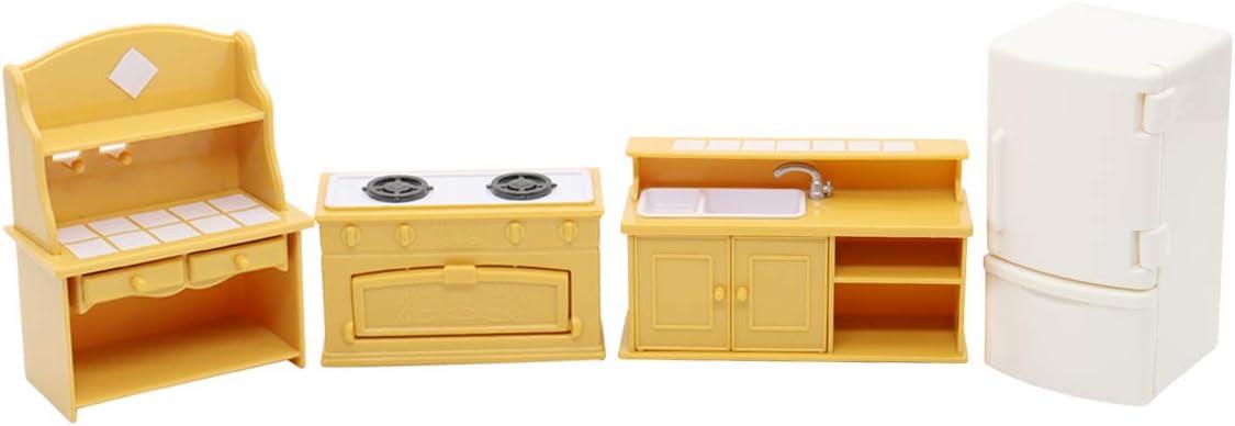 Hiawbon Mini Dollhouse Kitchen Furniture Set Kitchen Model, 4Pcs