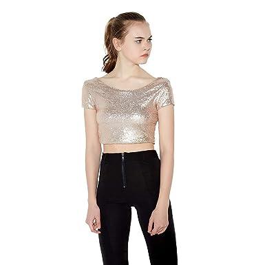 3cb46e158b32b6 HaoDuoYi Women s Glitter Sequins Backless Crop Top T Shirt at Amazon Women s  Clothing store
