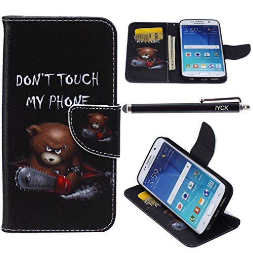 S6 Edge Case, Galaxy S6 Edge Case, iYCK Premium PU Leather Flip Folio Carrying Magnetic Closure Protective Shell Wallet Case Cover for Samsung Galaxy S6 Edge with Kickstand Stand - Electric Saw Bear