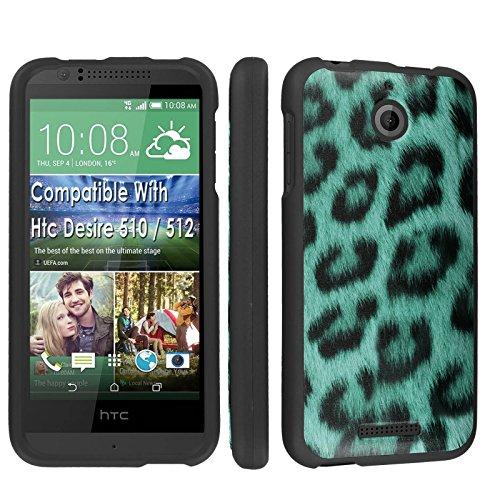 Htc Desire 510 / 512 Case, [SkinGuardz] Black Form Fit Fancy Protection Case - [Green Leopard] Print Design