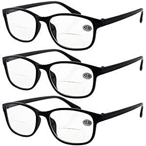 Lasree 3 PRS +1.50 Classic Style Bifocals Reading Glasses Mens Womens Spectacles Frames Readers Office Home Eyeglasses