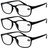 Lasree 3 PRS +4.00 Classic Style Bifocals Reading Glasses Mens Womens Spectacles Frames Readers Office Home Eyeglasses