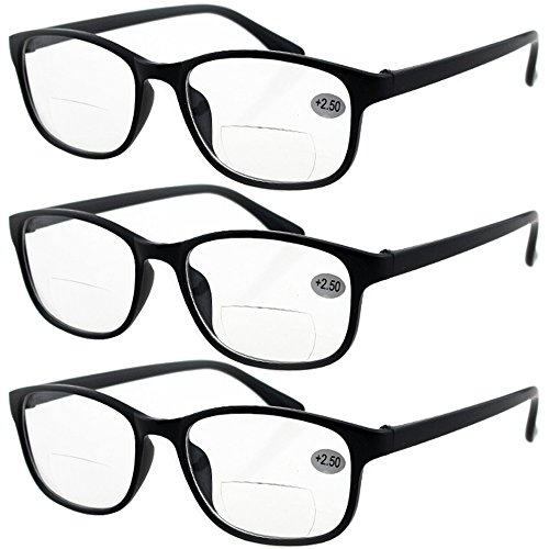 Lasree 3 PRS +3.00 Classic Style Bifocals Reading Glasses Mens Womens Spectacles Frames Readers Office Home Eyeglasses ()