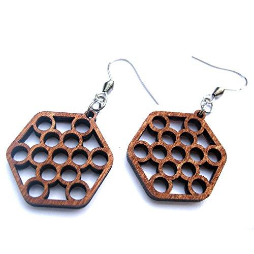 Wooden earrings Honeycomb Fruit of life in hexagon, 0g, 24mm -