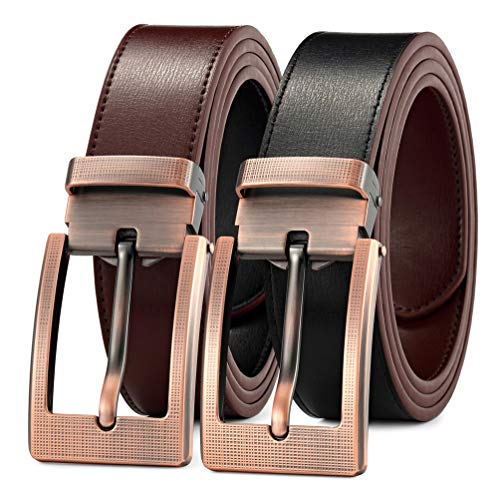 Men's Belt Leather Dress Casual Jeans Belt with Pin Buckle-Trim to fit-35cm ()