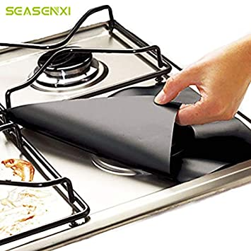Uniqus - Juego de 4 Protectores Reutilizables para Estufa de Gas (27 x 27 cm), Color Negro: Amazon.es: Hogar