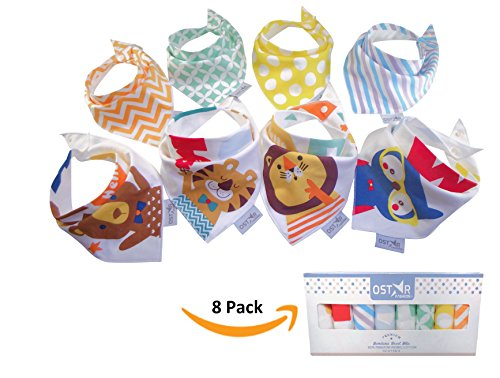 Infant Fashion (8-Pack Baby Bandana Bibs Baby Drool Bibs Unisex for Drooling and Teething, Organic Cotton and Super Absorbent Hypoallergenic Bibs for Baby Boys and Girls, Baby Shower Gift Set - By OStar Fashion)