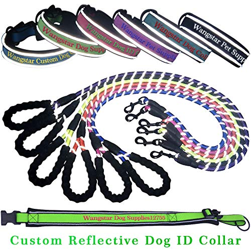 wangstar Custom Dog Collar and Leash Embroidered Personalized Dog Collar Name & Phone Number, Adjustable Size
