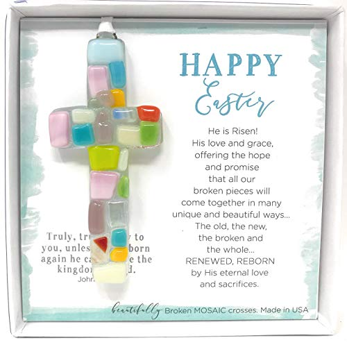 Handmade in USA Spring Easter Cross with Sentiment - Perfect Christian Gift for ()
