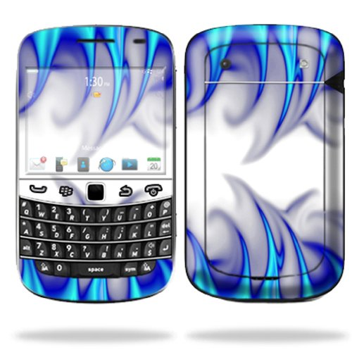 Mightyskins Protective Skin Decal Cover for Blackberry Bold 9900 or 9930 Cell Phone wrap sticker skins Blue Fire