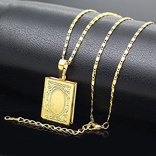 3e87c3df3d5c MCSAYS Collares Musulmanes Collares Alá Qur an Caja Colgante Cadena de  Bambú Cobre Dorado Marco