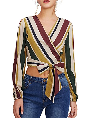 Verdusa Women's V-Neck Wrap Blouse Knot Tie Front Striped Crop Tops Multicolor (Striped Neck Wrap)
