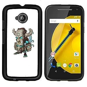 YiPhone /// Prima de resorte delgada de la cubierta del caso de Shell Armor - monstruo verde verde azulado monstruo de Frankenstein - Motorola Moto E2 E2nd Gen