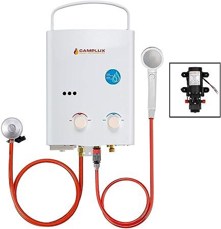 Camplux AY132 Calentador de Agua a Gas 5 Litros, LPG Instantáneo Propano Calentador de Agua pro Gas con Bomba de Agua 4.3 Litros