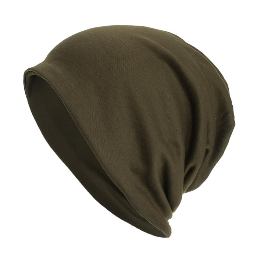 2 in 1 Women's Cotton Beanie Hat Chemo Sleep Cap Stretch Slouchy Turban Scarf Headwear (Army Green)