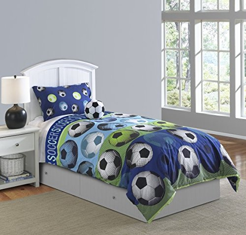 Riverbrook Home 68957 Soccer Comforter Set, Blue/White, 4-Piece, Full by Riverbrook Home