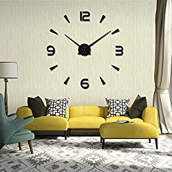 UBaymax Large Silent 3D Wall Clock, Modern Pendulum Design, Metallic Wall Clock Home Office Decoration DIY Digital Acrylic (Classic Black)