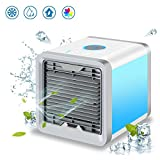 Personal Air Cooler, Portable Air Conditioner, Humidifier, Purifier 3 in 1 Evaporative Cooler, Mini AC USB Cooling Desktop Fan with 7 Colors LED Lights for Bedroom, Travel, Office, As Seen on TV