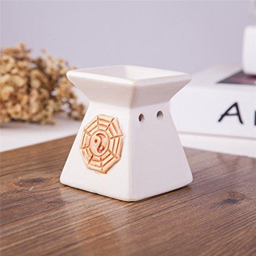 Feng Shui Zen Ceramic Essential Oil Burner Diffuser Tea Light Holder Great For Home Decoration & Aromatherapy OLBA103 ()