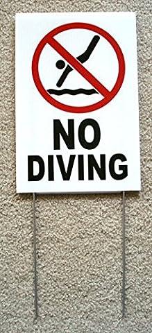 1-Pc Superb Popular No Diving Symbol Sign Risk Swiming Beach Board Plastic Coroplast Size 8