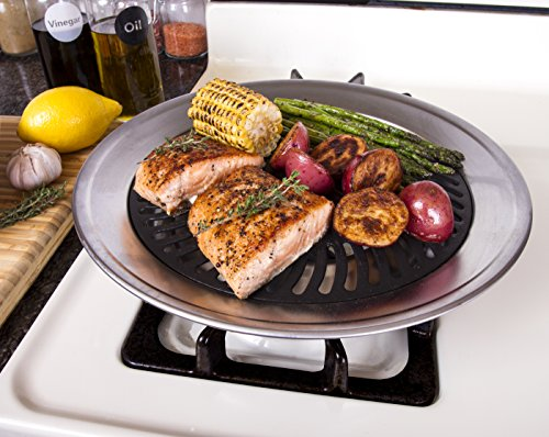 Kitchen + Home Stove Top Smokeless Grill Indoor BBQ, Stainless Steel with Double Coated Non Stick Surface (Stove Grill)