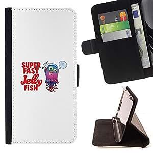 BullDog Case - FOR/Samsung Galaxy A3 / - / Cute Funny Super Fast Jelly Fish /- Monedero de cuero de la PU Llevar cubierta de la caja con el ID Credit Card Slots Flip funda de cuer