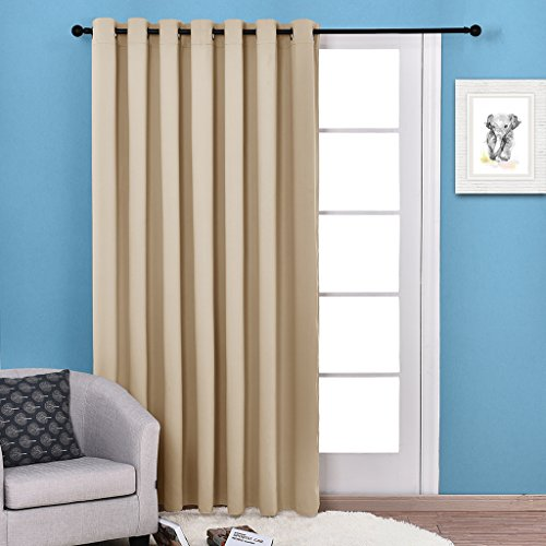 NICETOWN Three Pass Microfiber Energy Smart Ring Top Thermal Insulated Wide Width Solid Room Darkening Curtain / Drape, Patio Door Curtain Panel (Single Panel,W100