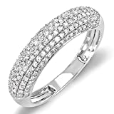Image of 0.50 Carat (ctw) 14k White Gold Round Diamond Ladies Anniversary Wedding Band 1/2 CT (Size 6)
