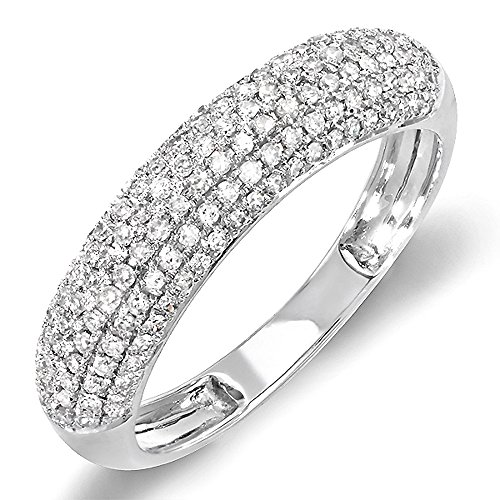 Dazzlingrock Collection 0.50 Carat (ctw) 14k Round Diamond Ladies Anniversary Wedding Band 1/2 CT, White Gold, Size 7
