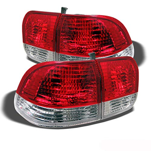 Xtune For 1996-1998 Civic 4dr Upper Red/Lower Clear Tail Lights Rear Brake Lamps Pair Left+RightNOT Fit 2Dr & 3Dr - 2dr Left Tail Lamp
