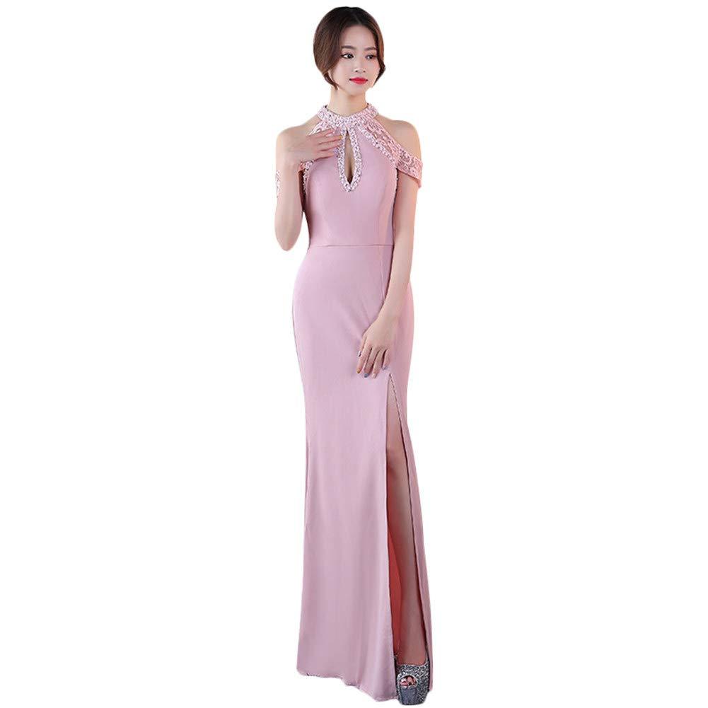 Drasawee Women's Sequined Halter Neck Evening Dress Sweet High Split Party Dresses