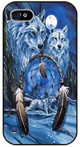 Dreamcatcher, wolfs and moon - iPhone 4 / 4s black plastic case / Inspiration