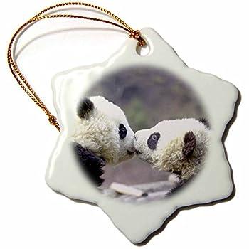 3drose Baby Pandas Snowflake Porcelain Ornament, 3-Inch