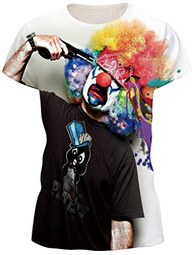 Donna EmilyLe Corta Print Casual Clown Divertenti Shirts Summer a Magliette Galaxy Manica T HRRgxZ