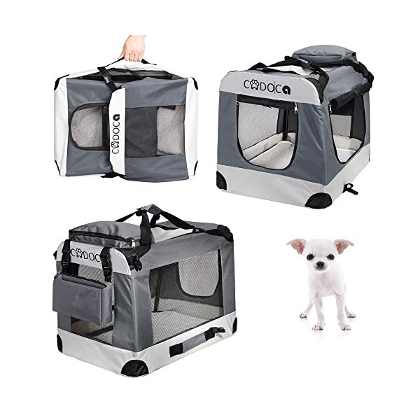 CADOCA® Soft-Sided Pet Carrier for Dogs Cats & Small Animals | Folding Water-repellent Washable Lightweight Steel Frame Incl. Blanket & Bags | S-XXL 2